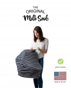 """AS SEEN ON SHARK TANK The Original Milk Snob Infant Car Seat Cover and Nursing Cover Multi-Use 360° Coverage Breathable Stretchy """"Marine"""""""
