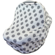 Stretchy Multi Use Carseat Canopy   Nursing Cover   Shopping Cart Cover   Infinity Scarf- Polka Dots   Best Baby Gift for Girls & Boys  Fits Most Infant Car Seats   Great For Breastfeeding Moms