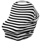 Multi Use Carseat Canopy   Nursing Cover   Shopping Cart Cover   Infinity Scarf- Black & White Stripe Print   Best Baby Gift for Boys and Girls   Fits Most Infant Car Seats   For Breastfeeding Moms