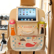 M'Baby Upgraded Oxford Fabric Cute Animal Backseat Car Organiser for Kids Baby Travel Toy Accessories Storage with Ipad Holder Whale ABC