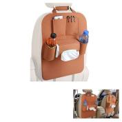 Yoosion Backseat Car Organiser Brown Multi-pocket Felt Automobile Back Seat Storage Bag for Pen, Bottle, Tissue Box, Toys, iPad
