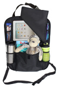 Back of Seat Car Organiser with Flap and Holder for iPad and Tablets up to 26cm - Stylish, Durable and
