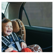 Car Window SunShade - Shield Your Baby from Sun, Glare, UV and Heat - Kids Fun Shade is Driver and Tint Safe. Vinyl Mesh Superior to Cling, Suction, Sox or Static Screen for Rear Passenger Protection