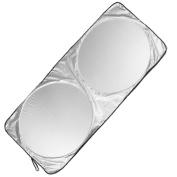 Nsstar Folding 150cm X 70cm Windshield Sun Shade Black Silver Tone for Car Auto