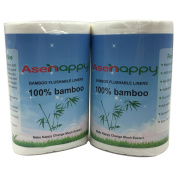 Asenappy Baby Bamboo Biodegradable Flushable cloth Nappy Liners (2 Roll) 100 sheets