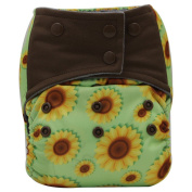 Asenappy Charcoal Bamboo Washable Reusable All-In-One Sunflower Cloth Pocket Nappy Sewn Insert