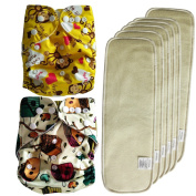 EASYMOM Breathable Fabric Elastic Infant Cloth Nappies 2 PCS (Different 2 ) With 6 Pcs Hemp Cotton Inserts(4 Layers)