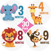"""New 2017 Designs! (30) Pack. Limited Time Sale! Original Stick'Nsnap (TM) Baby monthly round 10cm Stickers - """"Happy Animals and Rainbows"""" (TM). Great Baby Shower Gift!"""