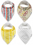 Baby Bandana Bibs by ZELDA MATILDA Extra Long Absorbent Adjustable Bib Made of Organic Cotton and Fleece, for Teething Drool and Feeding - A Must Buy To Keep Baby's Clothes and Neck Dry