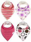 4 Designs,3 - 36 month,Baby Bandana Bibs by ZELDA MATILDA Extra Long Absorbent Adjustable Bib Made of Organic Cotton and Fleece, for Teething Drool and Feeding - (4 Pack),4 Designs,3 - 36 month