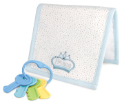 Stephan Baby Royalty Collection Embroidered Burp Pad and Key Rattle Gift Set, Little Prince