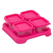 Green Sprouts Reusable Baby Food Glass Containers Freezer Cubes (60ml/4pk)-Pink