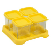 Green Sprouts Reusable Baby Food Glass Containers Freezer Cubes (120ml/4pk)-Yellow