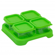 Green Sprouts Reusable Baby Food Glass Containers Freezer Cubes (60ml/4pk)-Green