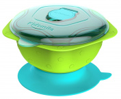 Kidsmile Stay Put and Spill-Proof Baby Feeding Bowl with Super Strong Suction Base, Air Damper, Snap Tight Lids, Pentagonal Non-Skid Handles and Raised Star Skip-Proof Design, Green, 1-Pack