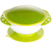 Kidsmile Baby Stay Put Suction Feeding Bowl and Plate Set, Non-Slip Suction Bowl and Snap-In Divided Plate and Tight Sealing Lid, Keep Food Warm in Travel, 2 Compartments On Plate for Food, Green