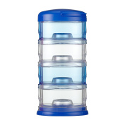 Innobaby Packin' Smart Stackable and Portable Storage System for Formula, Baby Snacks and more. 4 Stackable Cups in Blue. BPA Free.