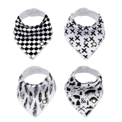 Baby Bandana Drool Bibs With Snaps, ANTEQI Unisex 4-Pack Baby Shower Gift Set For Drooling & Teething, 100% Organic Cotton Super Absorbent & Soft For Boys And Girls