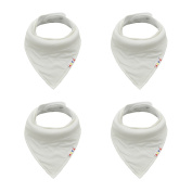 Alva Baby Bandana White Bibs for Infants & Toddler Boys and Girls 4 Pack of Super Absorbent Baby Gift Sets SJB09