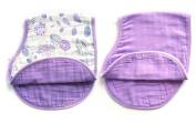 LAT 2 pack reversible cotton muslin burp cloths, Super Absorbent burpy bib