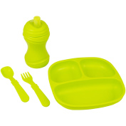 Re-Play Made in the USA Divided Plate, Soft Spout, Utensil Set for Baby and Toddler - Green