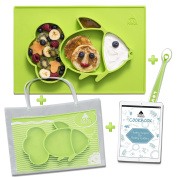 Cool Panda Premium Silicone Feeding Placemat for Babies, Reusable Travel Bag, Spoon and Healthy Recipes Ebook Included, Large Size
