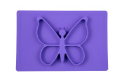 Silicone Kids Placemat, Baby Feeding Mat, Make Mealtime Fun, Fits Most Highchair Trays Butterfly Design Dinnerware Super Self Suction Pad Non-slip Placemats, Washable Placemat