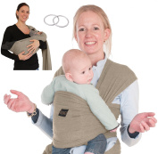 L & C Baby Carrier Wrap Sling w/Pocket - Nursing Cover Woven Cotton - Versatile - Perfect Baby Shower Gift - Instruction Video - 2 Sling Rings and E-book