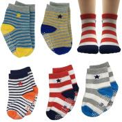 FlyingP Assorted 5 Pairs 8-36 Months Non Skid Ankle Socks Baby Walker Boys Toddler Anti Slip Knit Stripes Star Grips Socks Slippers Sneakers Footsocks Shoe Socks with Box