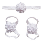 Elevin(TM) Newborn Baby Soft Handmade Flowers Barefoot Sandals and Headdress Three Suit