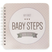 "NEW! Baby First Year Memory Mini Book for a Single Mom Family. Smokey Grey ""Modernista""(TM), Poly Cover. Intimate, travel size memory keeper record book and journal. 13cm x 13cm - Best Shower Gift!"