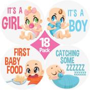 "New 2017 Design! Original Stick'Nsnap (TM) Baby monthly round 10cm Stickers - ""Happy Animals and Rainbows"" (TM). Great Baby Shower Gift!"