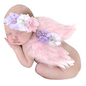 Photo Prop Outfit Baby Feather Angel Wings Costume Newborn Photo Prop Costume with Chiffon Flower Headband