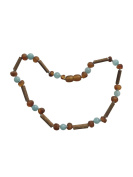 Aquamarine + Baltic Amber + Hazelwood Baby and Toddler Necklace. Colic, Reflux and Teething. Individually knotted.