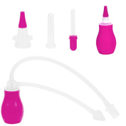 IntiPal Baby Nasal Aspirator - 3in1 Baby Nose Aspirator Medicine Dropper - BPA-Free FDA Aprroved Silicone Snot Sucker for Baby Nose Cleaning