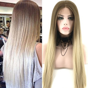 Fennell Long Body Wave Blonde Ombre Synthetic Lace Front Wig Dark Root Blonde Heat Resistant Hair Wigs For Women