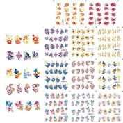 KADS Nail Decals Water Transfer Fingernail Decals Nail Stickers Flowers / Butterfly Water Transfer - 1 Pack 11 design