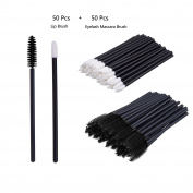 V-noah 50 Pcs Disposable Lipstick Wands Lip Gloss Applicators + 50 Pcs Disposable Eyelash Mascara Applicator Wand Brush Perfect Makeup Tool Kits