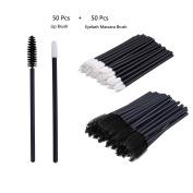 V-noah 50 Pcs Disposable Lipstick Wands Lip Gloss Applicators + 50 Pcs Disposable Eyelash Mascara Applicator Wand Brush Perfect Makeup Tool Kits