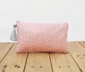 Blush pouch, stone washed clutch, bridesmaid purse, silver sequin bag , bohemian, size 13cm x 23cm