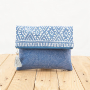 Indigo foldover clutch, stone washed, bridesmaid purse, silver sequin bag , Aztec, bohemian, size 20cm X 25cm