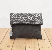 Charcoal foldover clutch, stone washed , silver sequin bag , aztec, bohemian, size 20cm x 25cm