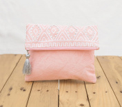 Blush foldover clutch, stone washed, bridesmaid purse, silver sequin bag , aztec, bohemian, size 20cm x 25cm
