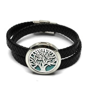 Aromatherapy Essential Oils Diffuser Locket Bracelet 316l Stainless Steel with Real Leather Band(30mm / 1.18 Inches Woven Band Tree)