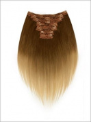 LORD & CLIFF SEVEN PIECE STRAIGHT REMY HAIR CLIP IN EXTENSION 46cm VANILLA CARAMEL BROWNIE
