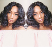 Foxy's Hair 7A Natural Wave Lace Front Wigs Brazilian Virgin Bob Wavy Human Hair Wig Glueless 130density Lace Front Wig for Black Women