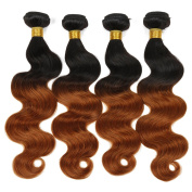 Two Tone Ombre Brazilian Hair Weave Body Wave 4 Bundle Deals Double Weft Dark Roots Brazilian Hair Weave Full Head Unprocessed Burgundy Ombre Hair Extensions