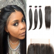 Royale Brazilian Hair Straight with Closure 8A Brazilian Virgin Hair 3 Bundles with Lace Closure Three Part Unprocessed Human Hair with Closure