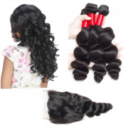 Brazilian Loose Wave Lace Closure With Bundles 4PCS/Lot Brazilian Virgin Hair With Closure Natural Colour Human Hair Weaves -141414+36cm