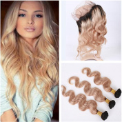 Tony Beauty Hair 1B/27 Light Brown Ombre 360 Band Lace Frontal Closure With Weaves Body Wave Honey Blonde Ombre Peruvian Virgin Hair 3 Bundles With 360 Lace Closure
